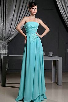 Sleeveless Beading Long Blue 2013 Bridesmaid Dresses