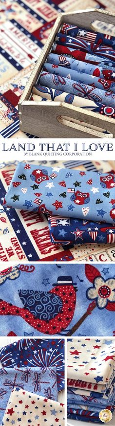 Land That I Love by Annie Lapoint is a darling patriotic collection filled with fireworks, stars, and a patriotic panel from Blank Quilting Corporation available at Shabby Fabrics.