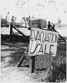 the great depression pictures | farm for sale sign during the Great Depression.