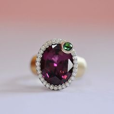 Rhodolite, Tsavorite and Diamond ring, set in 18k yellow gold, handmade by Ricardo Basta Fine Jewelry | Rhodolite ring, rhodolite and tsavorite ring, cocktail ring, statement ring