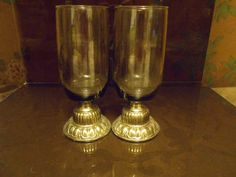 Goblets Smoky Brown Glass Tops Metal Base by SETXTreasures on Etsy