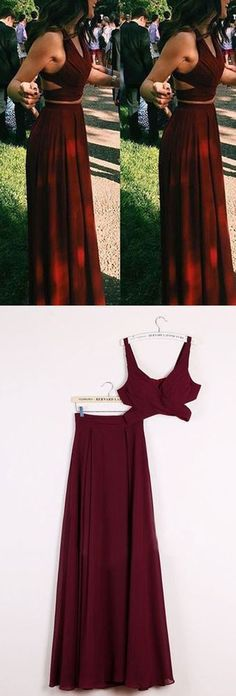 Gorgeous Burgundy Red 2 pieces Prom Dresses Long Sexy Evening Gowns Chiffon Two Piece Formal Dress For Teens from Storenvy Reviews This dress could be custom made there are no extra cost to do custom size and color.  Description :  1 Material: tulle elastic satin lace chiffon.   2 Color:...
