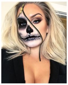 Zipper Halloween Makeup, Zipper Face Makeup, Amazing Halloween Makeup, Zipper Face Costume, Halloween Costume Makeup, Skeleton Face Makeup, Halloween Skeleton Makeup, Facepaint Halloween, Skeleton Face Paint