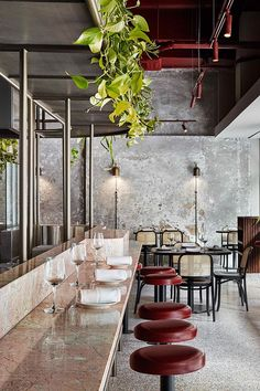 Bar at Pentolina Restaurant in Melbourne. Modern Restaurant, Restaurant Design, Decoration Restaurant, Café Restaurant, Italian Restaurant Decor, Hotel Decor, Design Hotel, Restaurant Interiors, Open Kitchen Restaurant