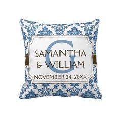 Damask Label Custom Wedding Pillow