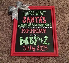 Christmas pregnancy announcement Santa bringing baby number two