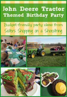John Deere birthday party ideas.  Frugal birthday party with a John Deere theme.  Cake, theme food and treats, scavenger hunt ideas