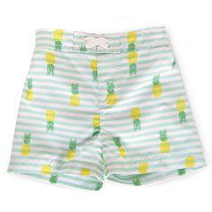 Baby Boys' Pineapple/Stripe Swim Trunk Blue/Green/Yellow/White