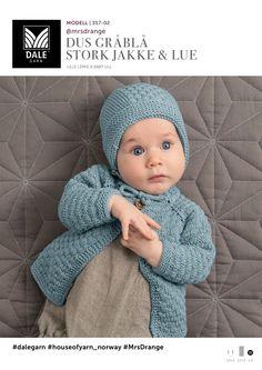 Dus Gråblå Stork Jakke og Lue - Køb billigt her Knitting For Kids, Knitting For Beginners, Baby Knitting Patterns, Knitting Yarn, Woolen Sweater Design, Drops Baby, Baby Barn, Stork, Baby Sweaters
