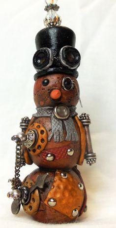 Mixed Media Polymer Clay Snowman Ornament
