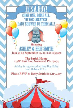 Disney Dumbo Baby Shower Invite by SRosadoDesigns on Etsy