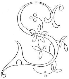 Monogram for Hand Embroidery - the Letter S.this site has the whole monogram alphabet Hand Embroidery Letters, Ribbon Embroidery, Cross Stitch Embroidery, Embroidery Designs, Embroidery Scissors, Eyeliner Embroidery, Types Of Embroidery, Stencil Painting, Needlework