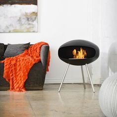 terra black fireplace by Cocoon Fires