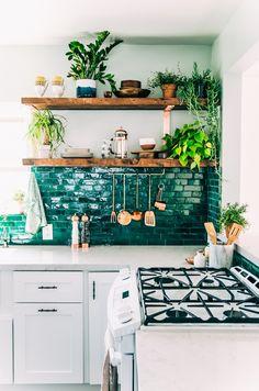 Green tile backsplash.