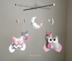 Baby Mobile  Pink and Grey Chevron Owl Mobile  by WhooosTheCutest?, on Etsy