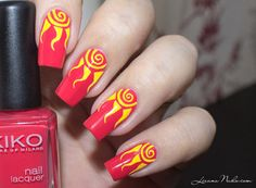 Nail Art Soleil #kiko #red #yellow #nailart #nails #polish - For more nail looks or to share yours, go to bellashoot.com