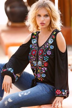Boho Style   Women's Embroidered Cold Shoulder Tie-Front Top by Boston Proper.