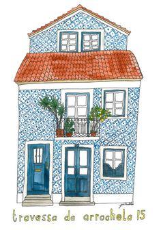 'Lisboa' by Puk Ewdokia Building Illustration, House Illustration, Watercolor Illustration, Watercolor Art, House Sketch, House Drawing, House Painting, Painting & Drawing, Building Painting