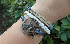 Mockingjay pin braceletscatching fire by jewellrydesign on Etsy, $7.99