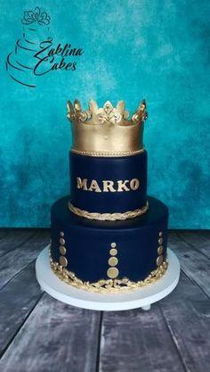 Golden crown - cake by Zaklina Birthday Cake Crown, Golden Birthday Cakes, Prince Birthday Party, Birthday Cake For Him, King Birthday, 18th Birthday Cake, Beautiful Birthday Cakes, Bolo Paris, Prince Cake