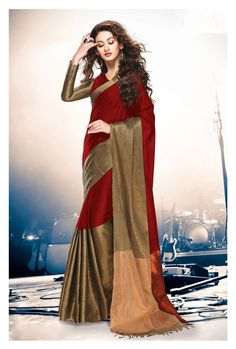 Maroon Cotton Saree With Blouse 69922