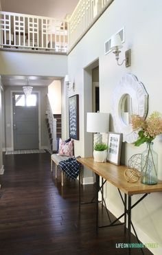 Unique railing design! Fall Home Tour and Entryway - Life On Virginia Street