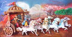 Krishna and Arjuna on Chariot During Kurukshetra War (Photographic Print - Unframed)