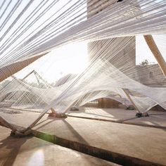cotton was the material of choice for design studio Barkow Leibinger when forming an undulating canopy in the centre of Marrakech