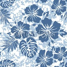 Blue Hawaii pattern designed by Michael Bayquen, available as a vector file for download on patterndesigns.com