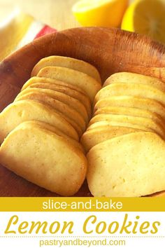 Lemon Slice-and-Bake Cookies-These delicious homemade lemon slice-and-bake cookies are very light and easy to make! If you are a lemon lover, you should try these from scratch lemon cookies. Cookie Recipes From Scratch, Easy Cookie Recipes, Sweet Recipes, Lemon Recipes Easy, Köstliche Desserts, Lemon Desserts, Dessert Recipes, Plated Desserts, No Bake Cookies