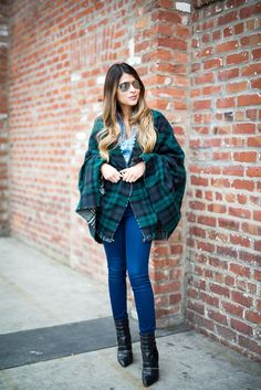 The Girl From Panama posted a new shoppable look to Stylinity.com! Click to shop her style. #blogger #fashion #plaid #blanketscarf