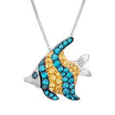 4/24/15 - 7/8 ct Paraiba & Honey Topaz Fish Pendant in Sterling Silver