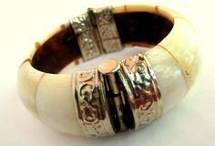 Vintage Ox Bone Hinged Cuff Bracelet by TheButterflyBoxdeitz, $83.00