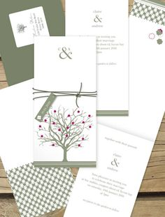 Modern tree wedding invitations by Lilykiss. Shipping throughout Australia and overseas. Order a sample for just $5 and browse our online range.