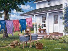 Wash & Dry  JohnSloaneArt.com - John Sloane - Gallery - Amish