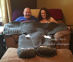 This is a crochet pattern for my Bulky Elephant Blanket for Two. It is a whimsical blanket made for two people to share! The top of the blanket lays… Crochet Afghans, Crochet Blanket Patterns, Crochet Stitches, Crochet Baby, Knitting Patterns, Knit Crochet, Crochet Blankets, Mermaid Crochet Blanket, Crochet Elephant Pattern