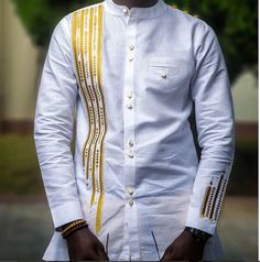 White and gold Men African Fashion Wear African by NayaasDesigns ~DKK ~African fashion, Ankara, kitenge, African women dresses, African prints, African men's fashion, Nigerian style, Ghanaian fashion.
