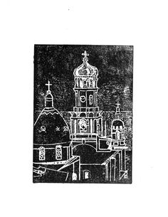 """""""Puerto Vallarta Mexico"""" hand-printed lino-cut on hand-made paper. A beautiful hand-printed lino-cut of the church in Puerto Vallarta, Mexico, hand-printed onto hand-made paper. Signed and ready for matting and framing. 11 x 8.5"""" in size. The perfect gift for yourself or someone else!."""
