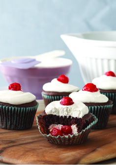 Black Forest-Stuffed Cupcakes – Sure, you've tried classic black forest cake but have you ever had a Black Forest-Stuffed Cupcakes? Now is your chance—bake up a batch of this chocolate cupcake dessert recipe with cherry pie filling and a cream cheese center and then finish them off with a dollop of COOL WHIP!