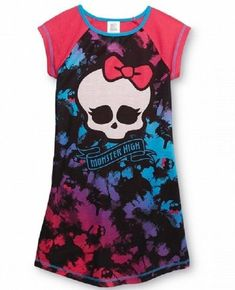 866bc30bd4 Monster High S s Nightgown Girl s Tie-dyed Skull Pajamas Short Sleeve.  Rosemarie Leuniny · Ideas For Kids Clothing