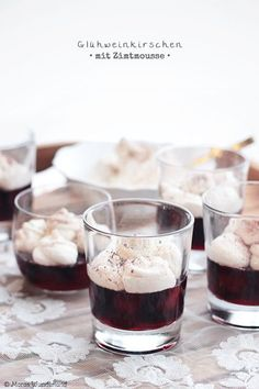 mulled wine cherries with cinnamOn mousse