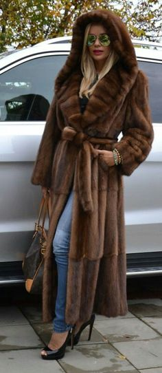 Brown mink fur long trench coat hood class of sable chinchilla fox ...