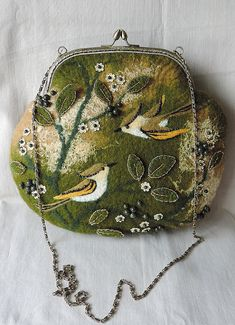 Handmade felted purse with birds, Wool purse, Felted pouch, Crossbody bag, Handbag