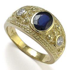 sapphire rings | ... Yellow Gold Three-Stones Genuine Sapphire G-I1 Diamonds Ring 7 to 14