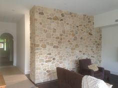 Interior feature wall in a rustic random finish with recessed joints (Carey Gully Sandstone) - Millswood, SA - Year 2015