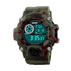 Luxury Military Stopwatch Sports Date Digital Light Silicone Mens Wrist Watch Camouflage Green -- Click image to review more details.Note:It is affiliate link to Amazon.