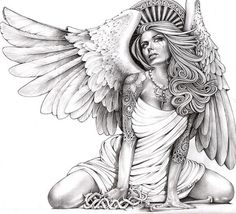 Title: Crying Angel Artist: Mouse LopezKneeling woman with angel wings glances skyward with a tear in her eye. Her head is crowned by a crest of heaven.Made-to-