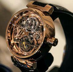 When a high-fashion brand approaches the world of Haute Horlogerie: ⌚️ Louis Vuitton Tourbillon Tambour Monogram! 🎩 Would you buy that… Amazing Watches, Beautiful Watches, Cool Watches, Rolex Watches, Wrist Watches, Stylish Watches, Luxury Watches For Men, Datejust Rolex, Louis Vuitton Watches