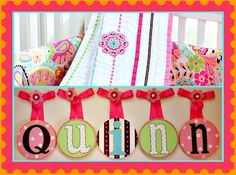 Girls Baby Nursery Hanging Wall Letters to by candicenkatiesart, $22.95