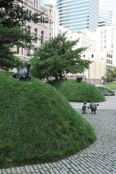 The Martha Schwartz city park in front of the US Courthouse buildings in downtown Minneapolis. #landscaping